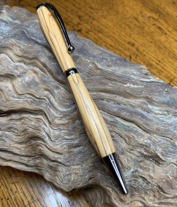 Olive Wood Pen with Black Titanium