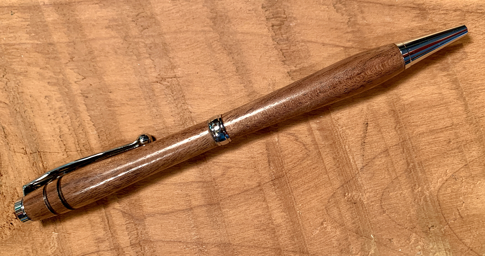 Walnut pen with chrome finish